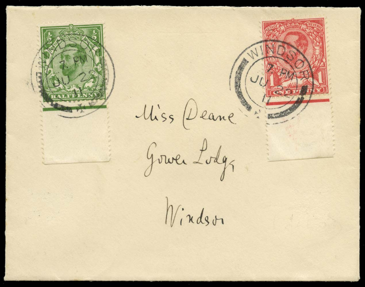 GB 1911  SG321,327 Cover First Day, Windsor cds