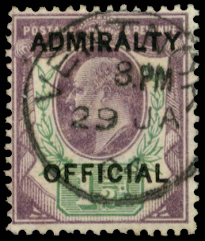 GB 1903  SGO103 Official 1½d (Admiralty Official) Ventnor cds