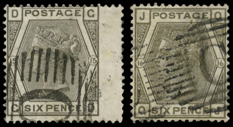 BRITISH LEVANT 1874  SGZ105 Pl.15, 16 Cancel
