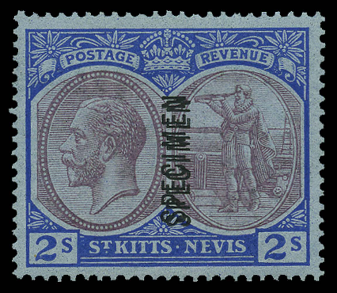 ST KITTS NEVIS 1921  SG47asa Specimen 2s overprint double
