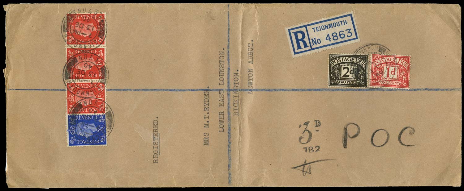 GB 1940  SG463,466,D28,D29 Postage Due - Posted out of course