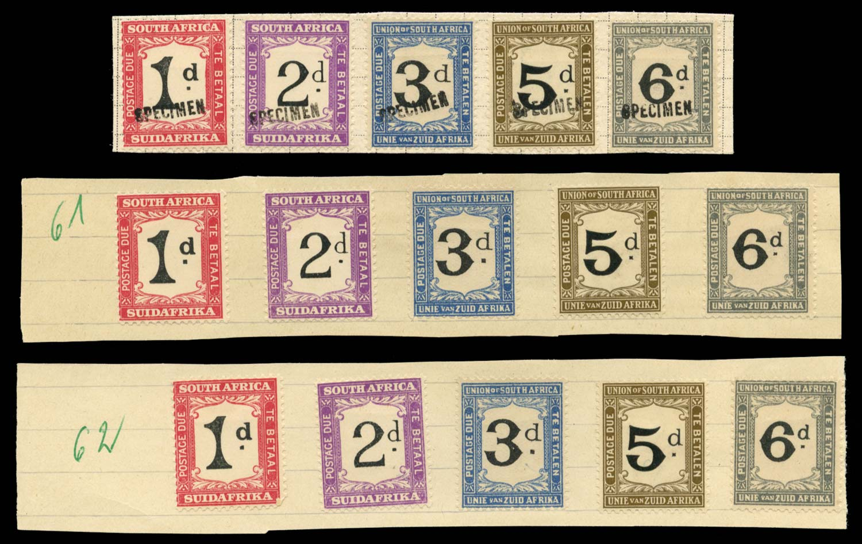 SOUTH AFRICA 1914-27  SGD5, D15/6, D18/09 Specimen