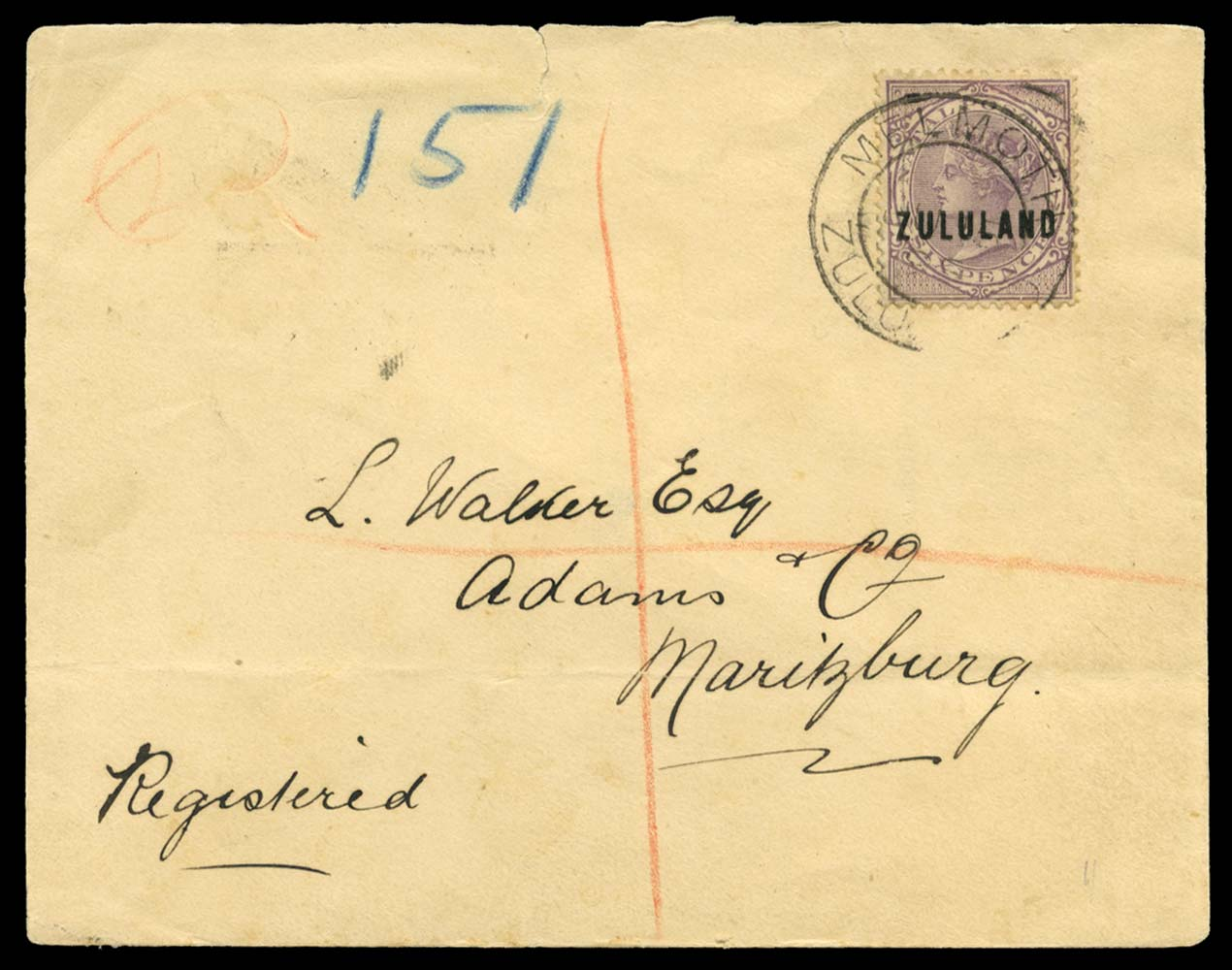 ZULULAND 1893  SG16 Cover