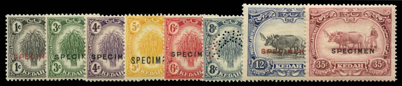 MALAYA - KEDAH 1922  SG52s/59s Specimen