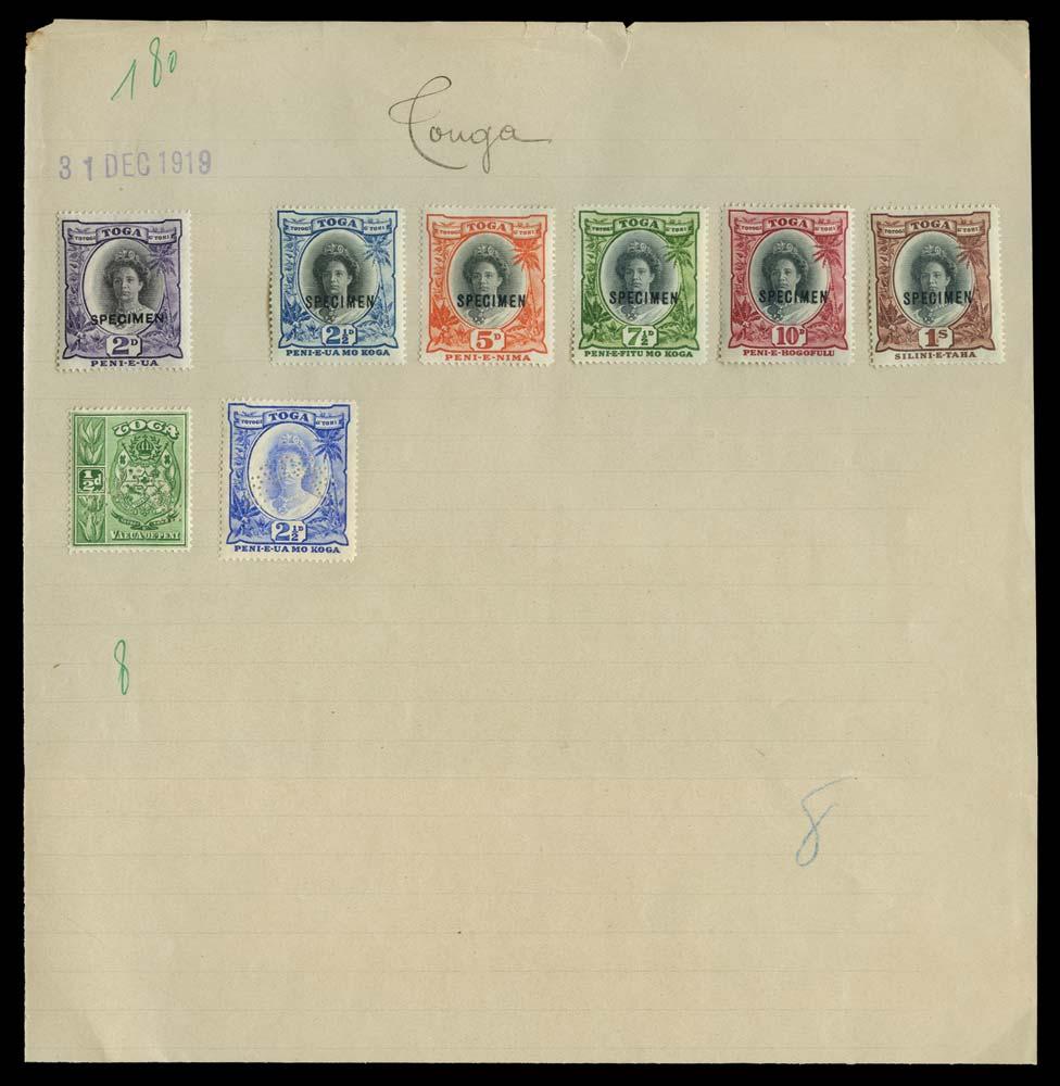 TONGA 1920  SG55s/63s Specimen