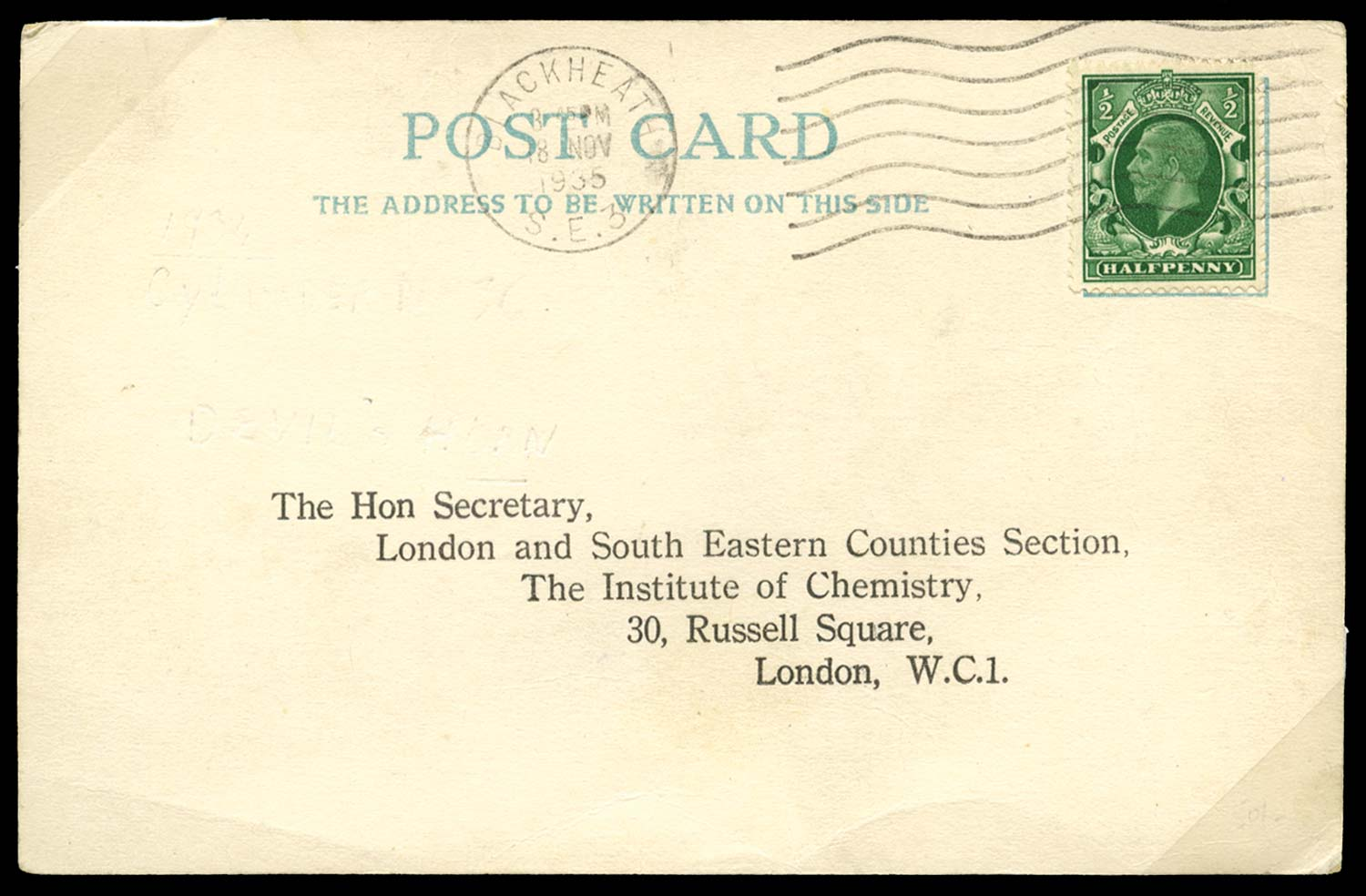 GB 1935  SG439 Cover Postcard with