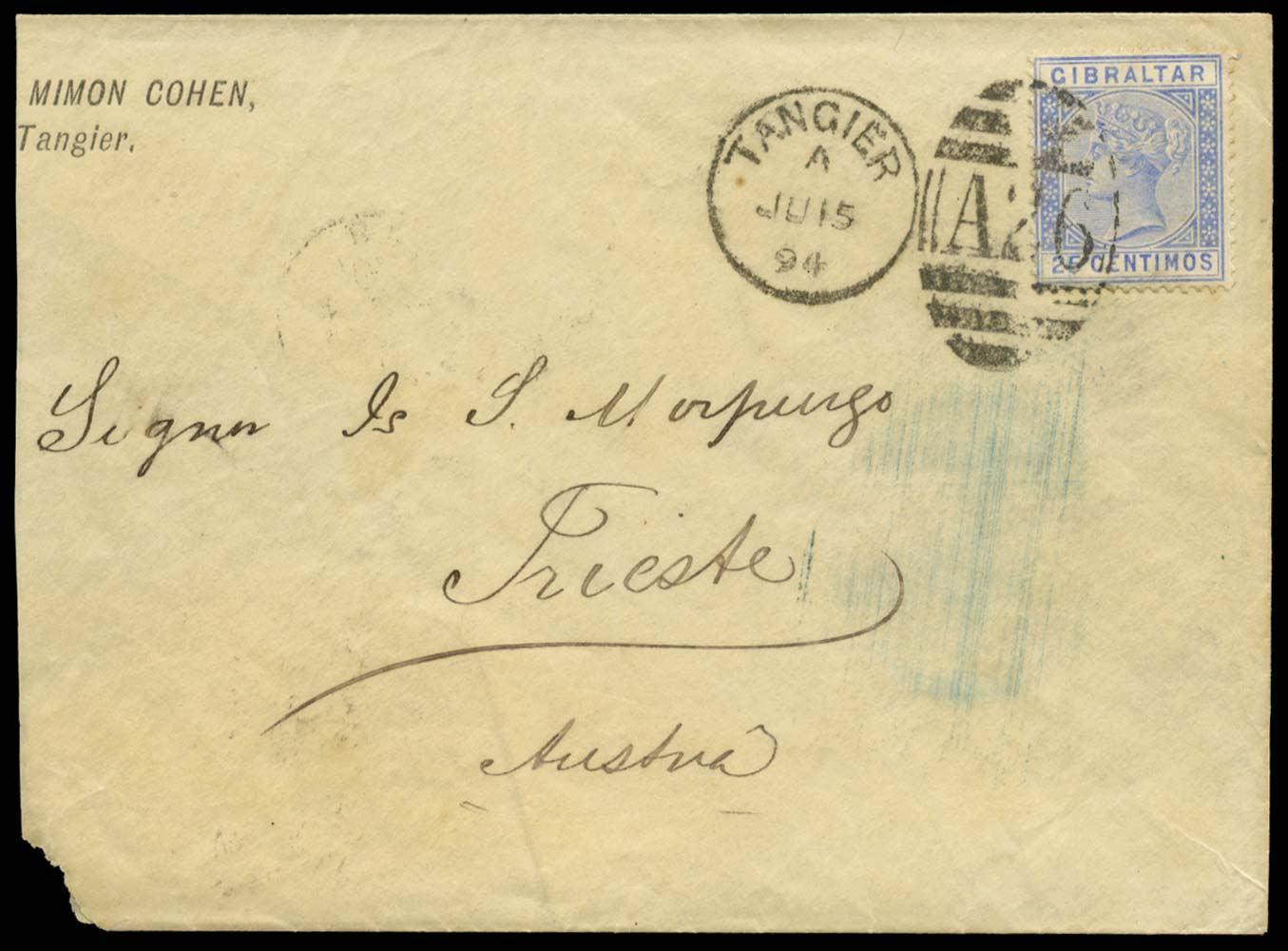 MOROCCO AGENCIES 1894  SGZ145 Cover