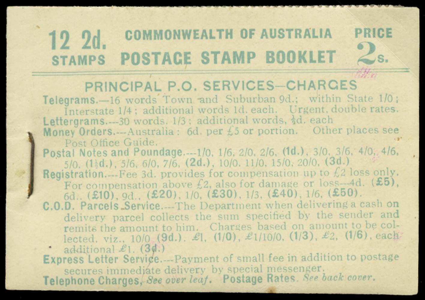 AUSTRALIA 1930  SGSB25a Booklet