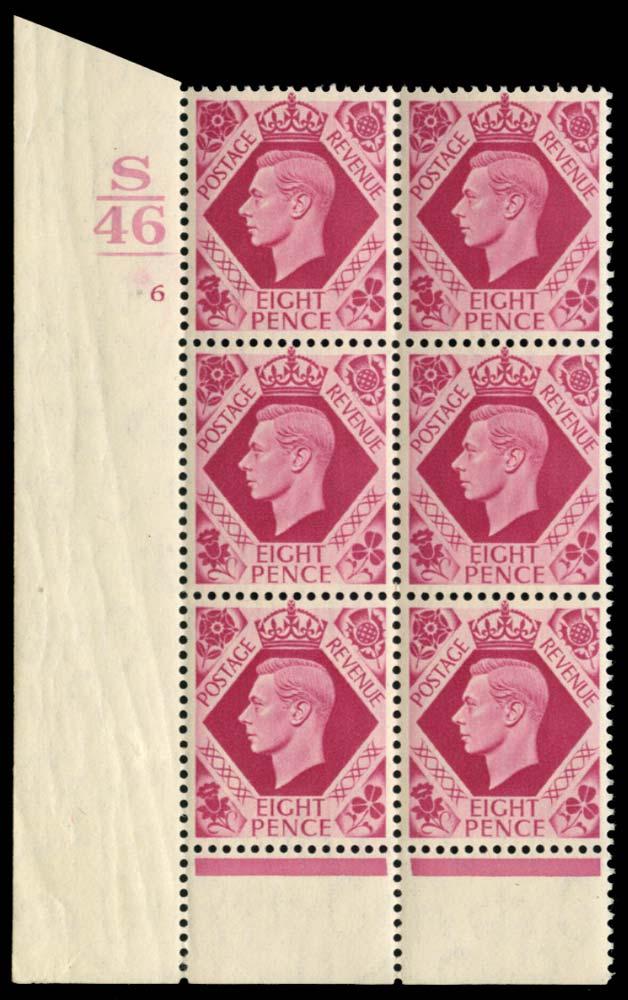 GB 1939  SG472 Mint S/46_ control, cylinder 6 no dot