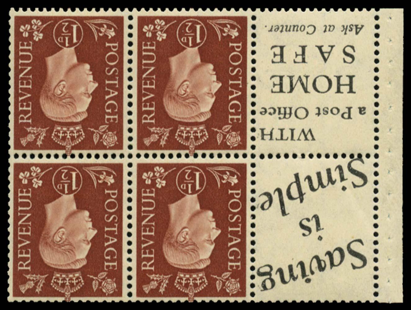 GB 1937  SG464bw Booklet pane