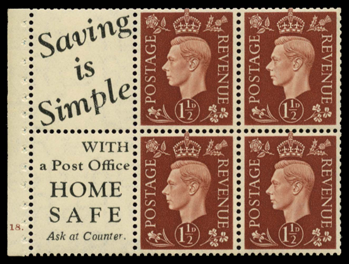 GB 1937  SG464b Booklet pane