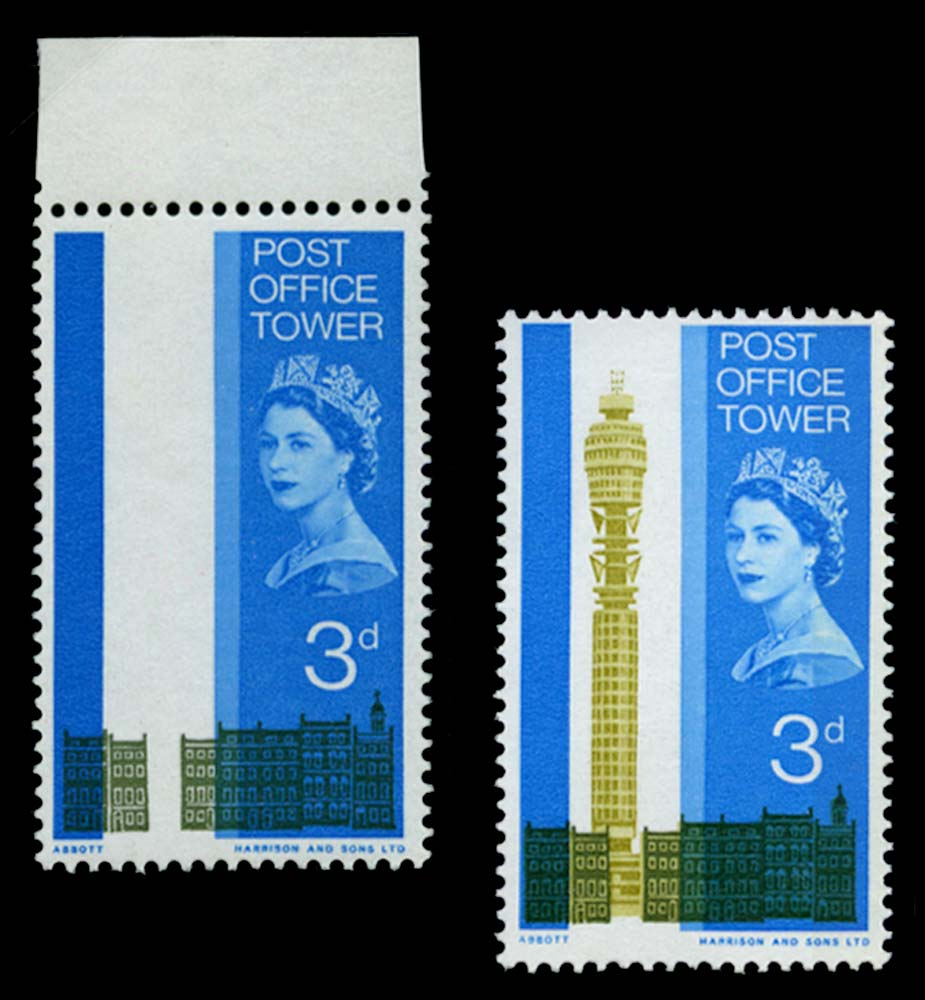 GB 1965  SG679a Mint - Olive-yellow (Tower) omitted