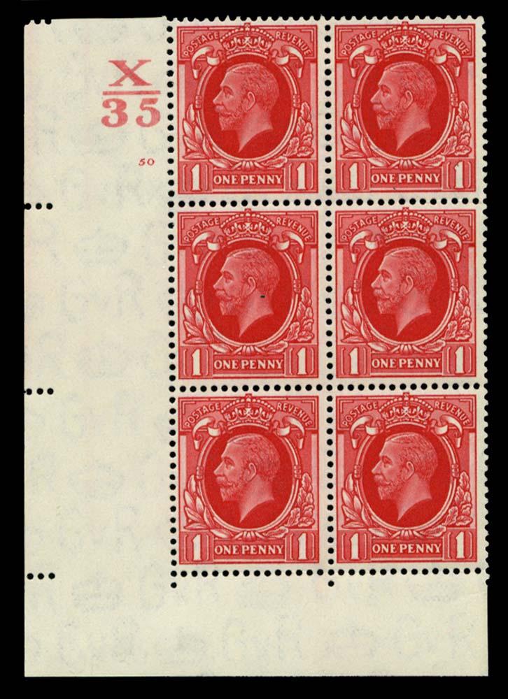 GB 1934  SG440 Mint Control X/35 Cylinder 50 (No dot)