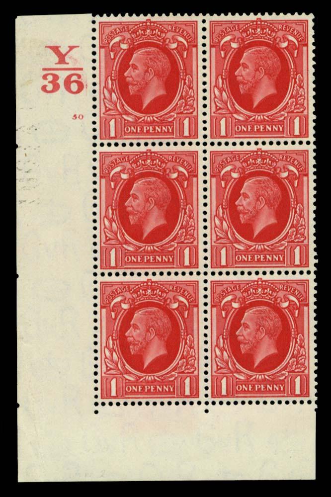 GB 1934  SG440 Mint Control Y/36 Cylinder 50 (No dot)