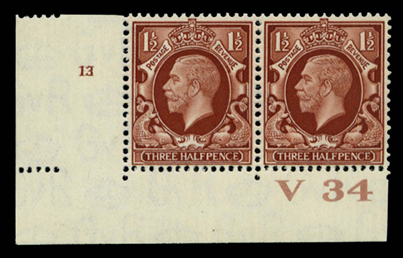 GB 1934  SG441 Mint Control V34, Cyl. 13 (No dot)