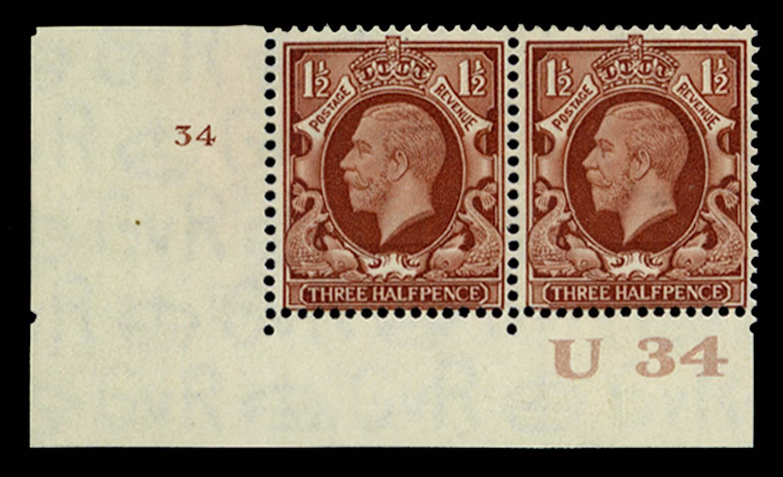 GB 1934  SG441 Mint Control U34, Cyl. 34 (No dot)