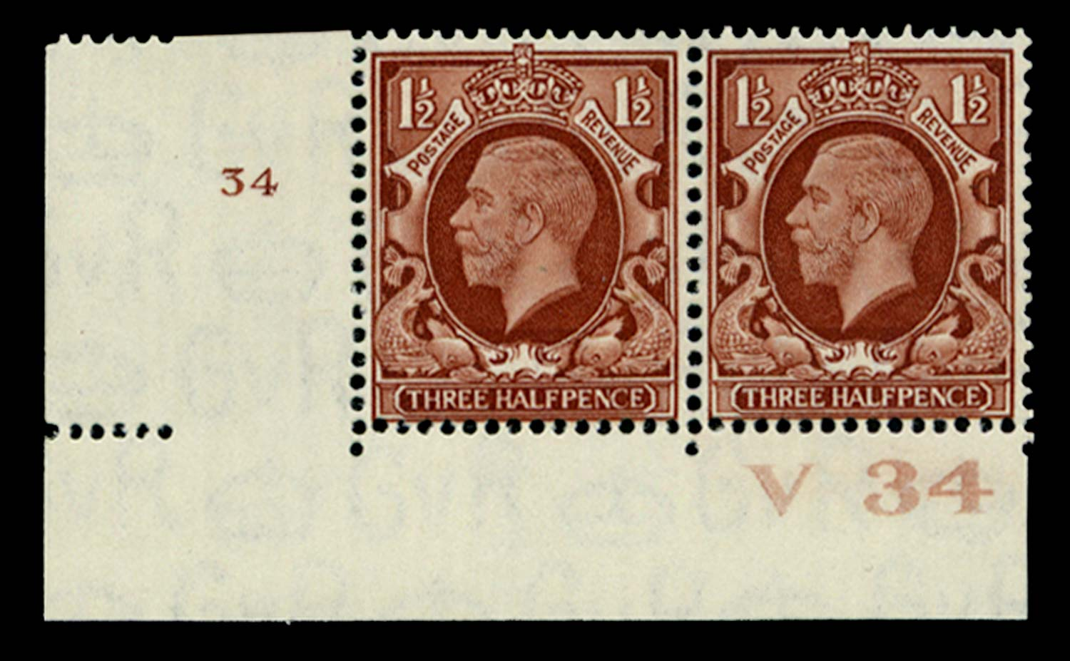 GB 1934  SG441 Mint Control V34, Cyl. 34 (No dot)