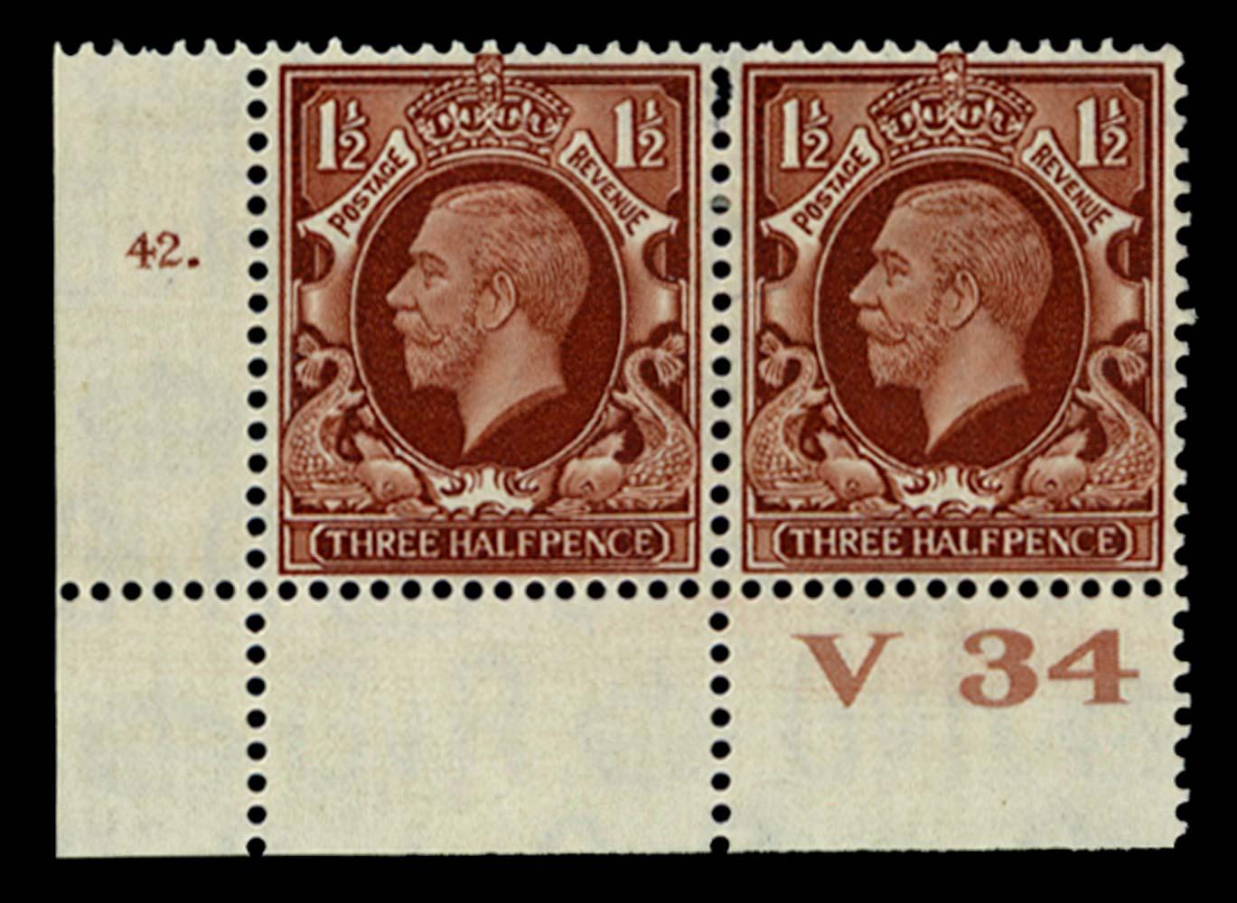 GB 1934  SG441 Mint Control V34, Cyl. 42 (Dot)