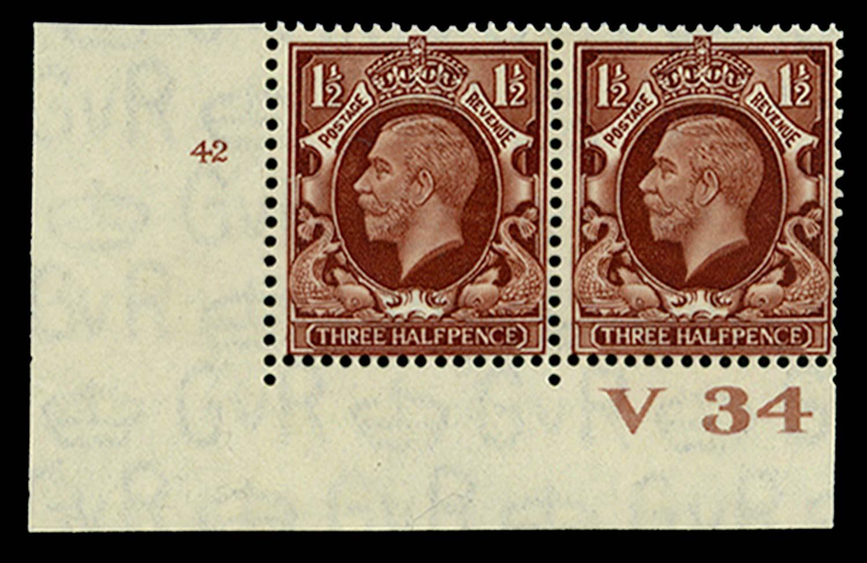 GB 1934  SG441 Mint Control V34, Cyl. 42 (No dot)
