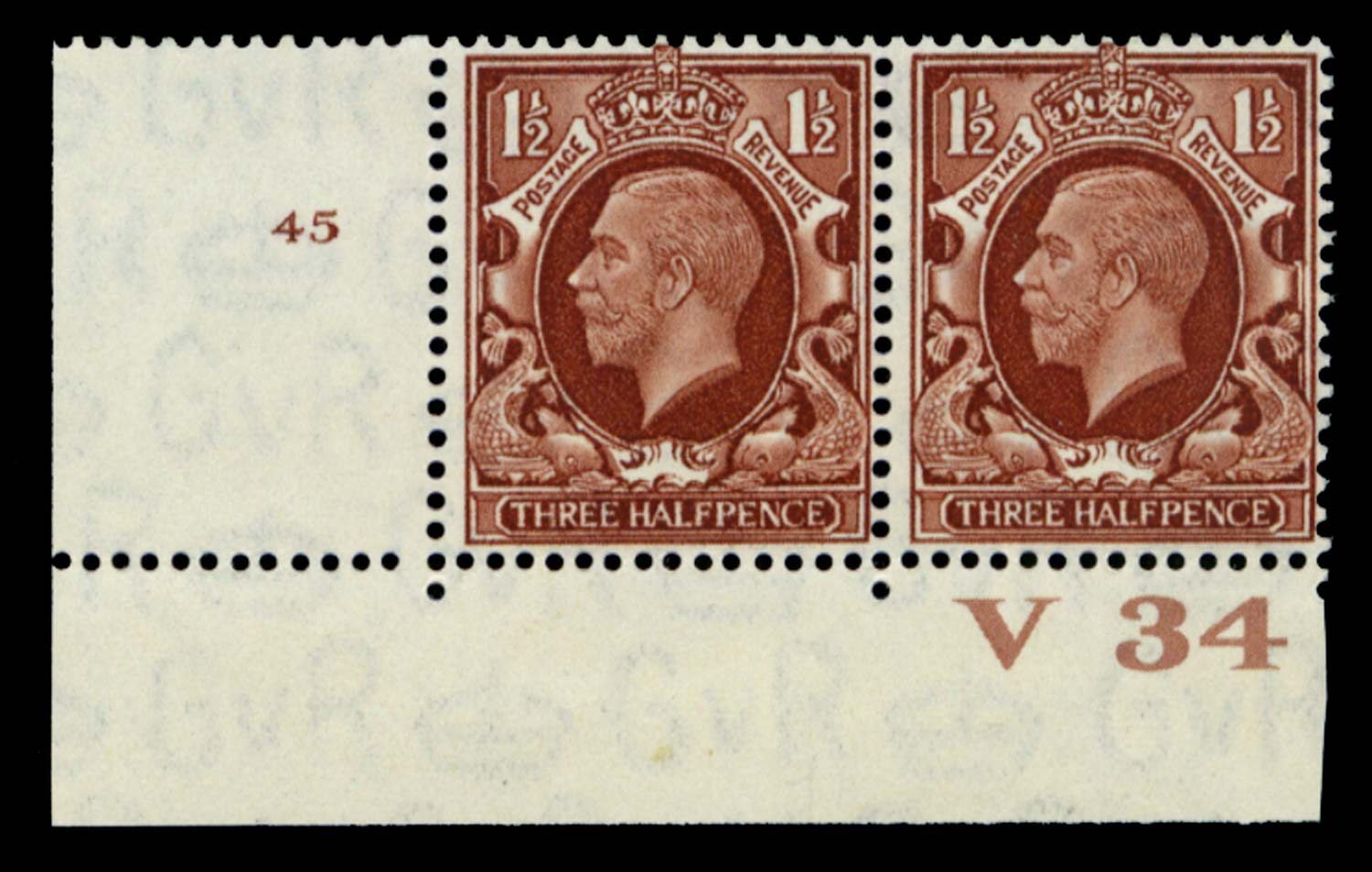 GB 1934  SG441 Mint Control V34, Cyl. 45 (No dot)
