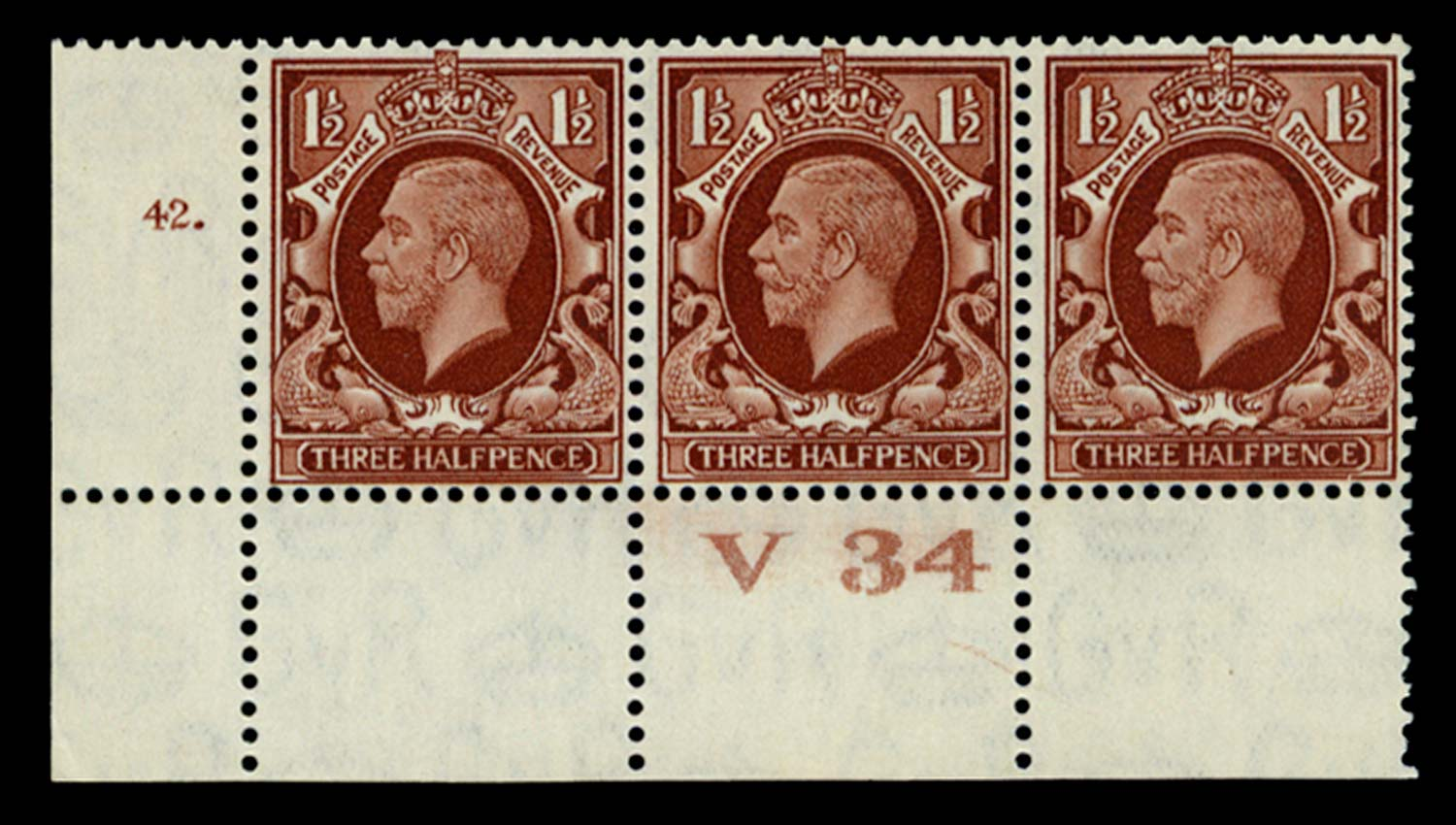 GB 1934  SG441 Mint Control V34, Cyl. 42 (Dot) with broken frame variety