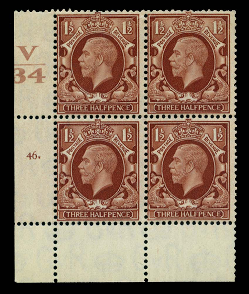 GB 1934  SG441 Mint Control V/34, Cyl. 46 (Dot)