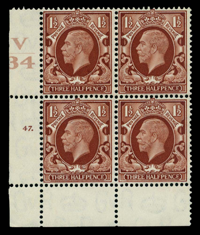 GB 1934  SG441 Mint Control V/34, Cyl. 47 (Dot)