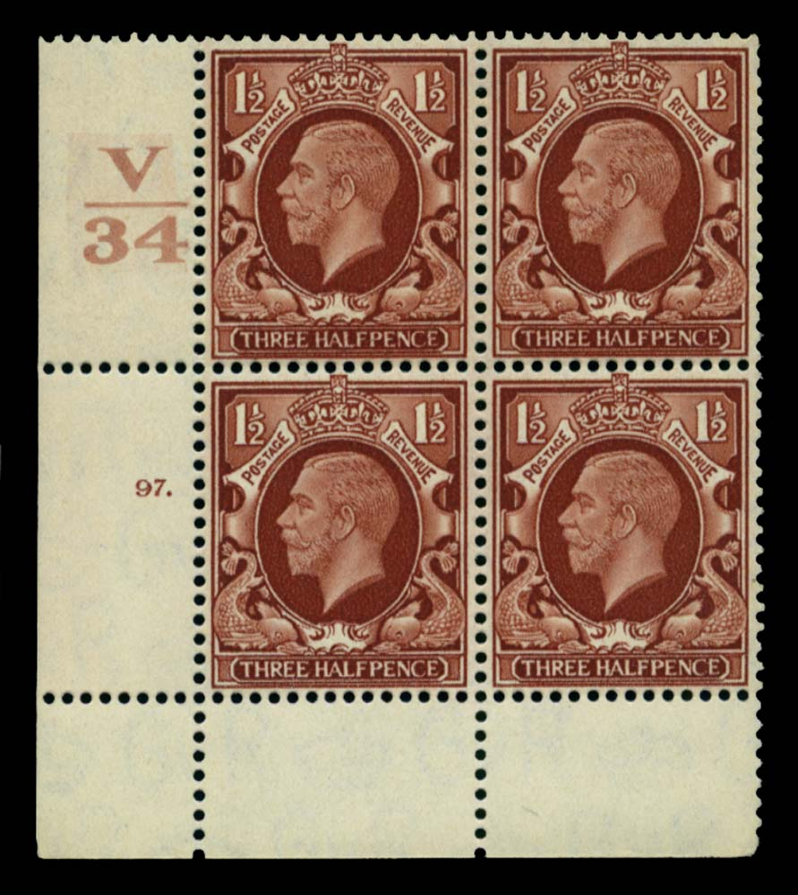 GB 1934  SG441 Mint Control V/34, Cyl. 97 (Dot)