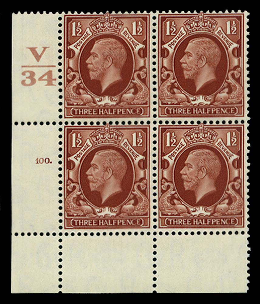 GB 1934  SG441 Mint Control V/34, Cyl. 100 (Dot)