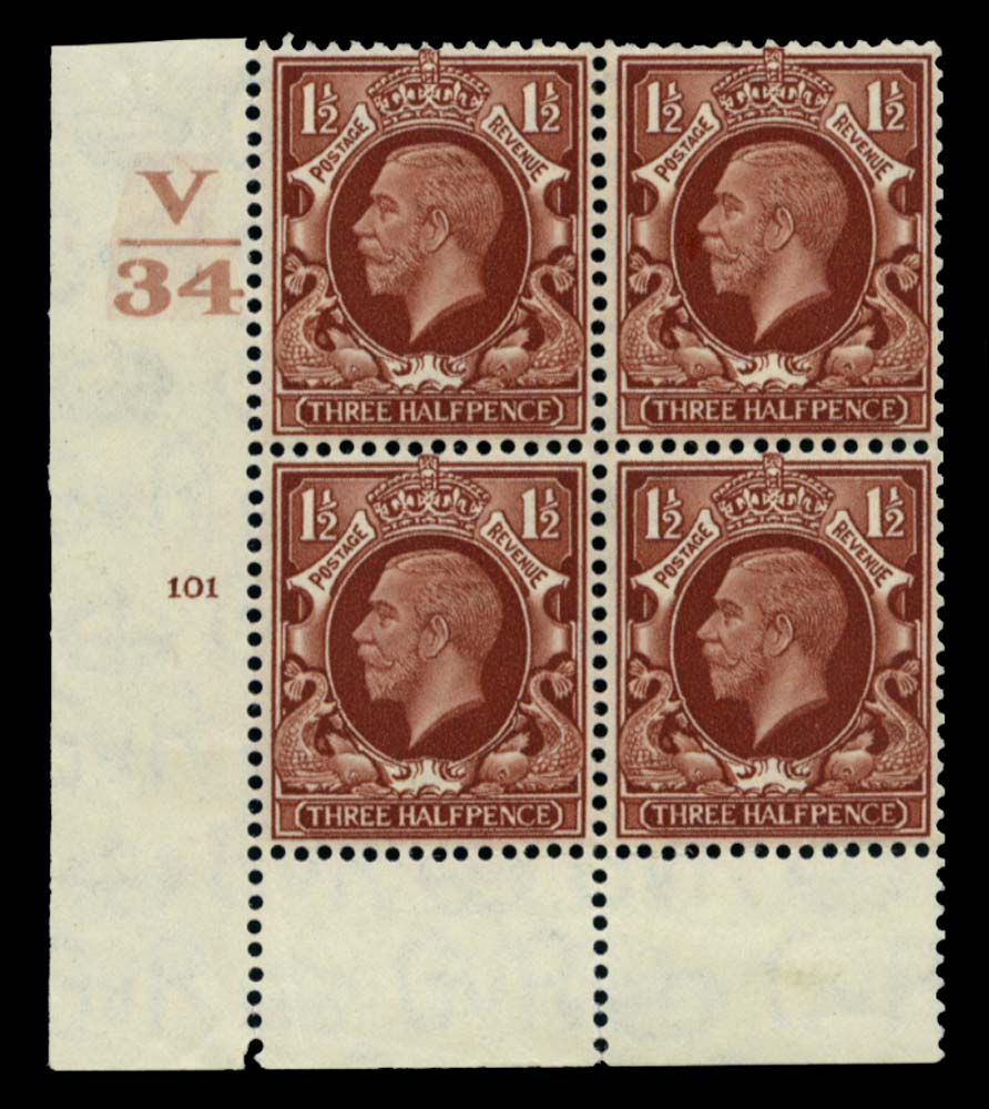GB 1934  SG441 Mint Control V/34, Cyl. 101 (No dot)