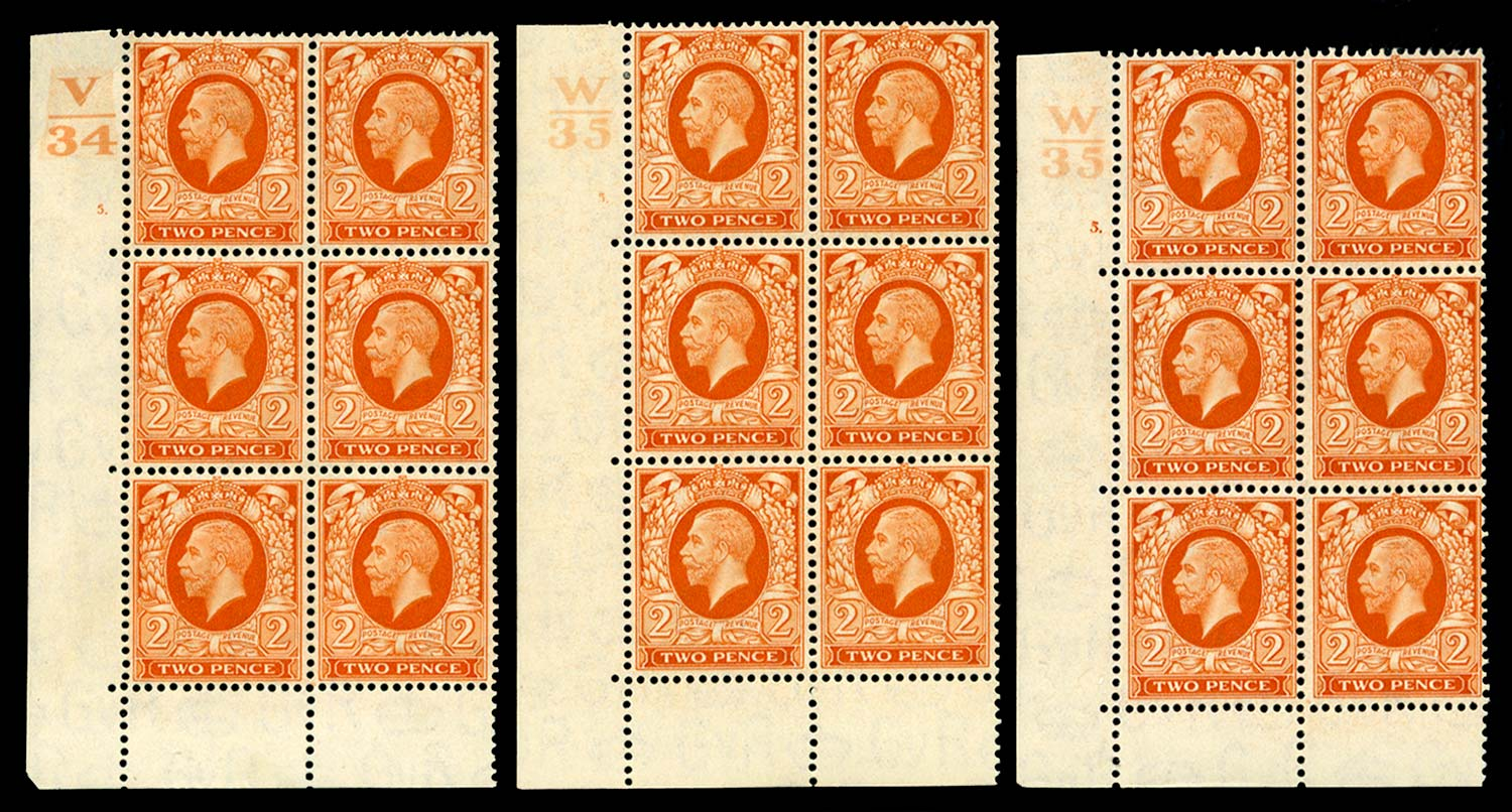 GB 1934-35  SG442 Mint Control blocks from Cyl.5 states I+II