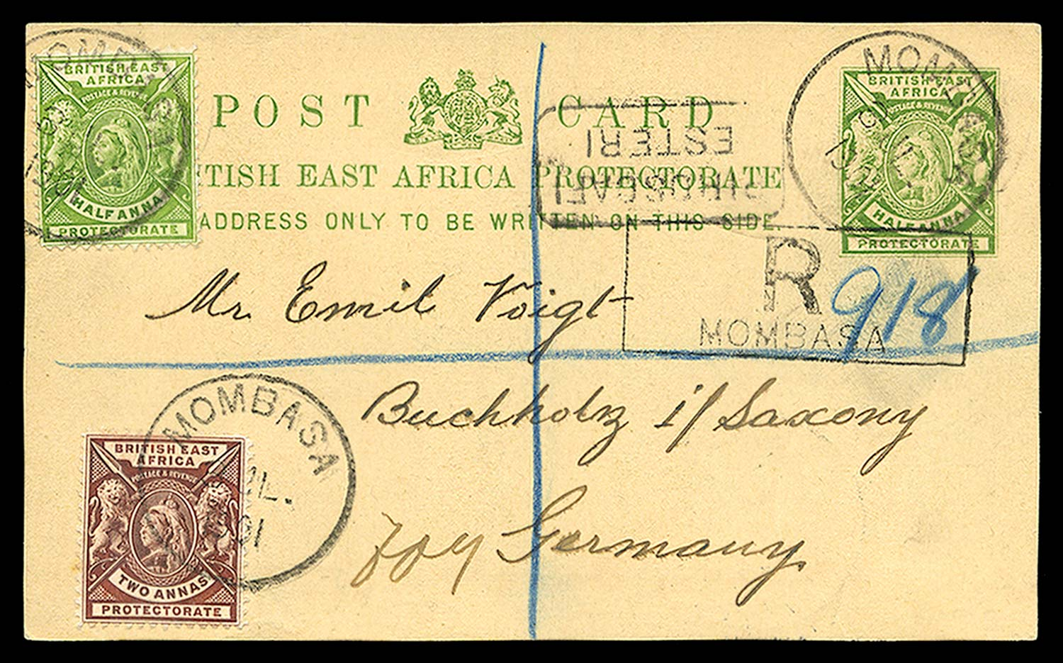 BRITISH EAST AFRICA 1901  SG65, 67 Cover