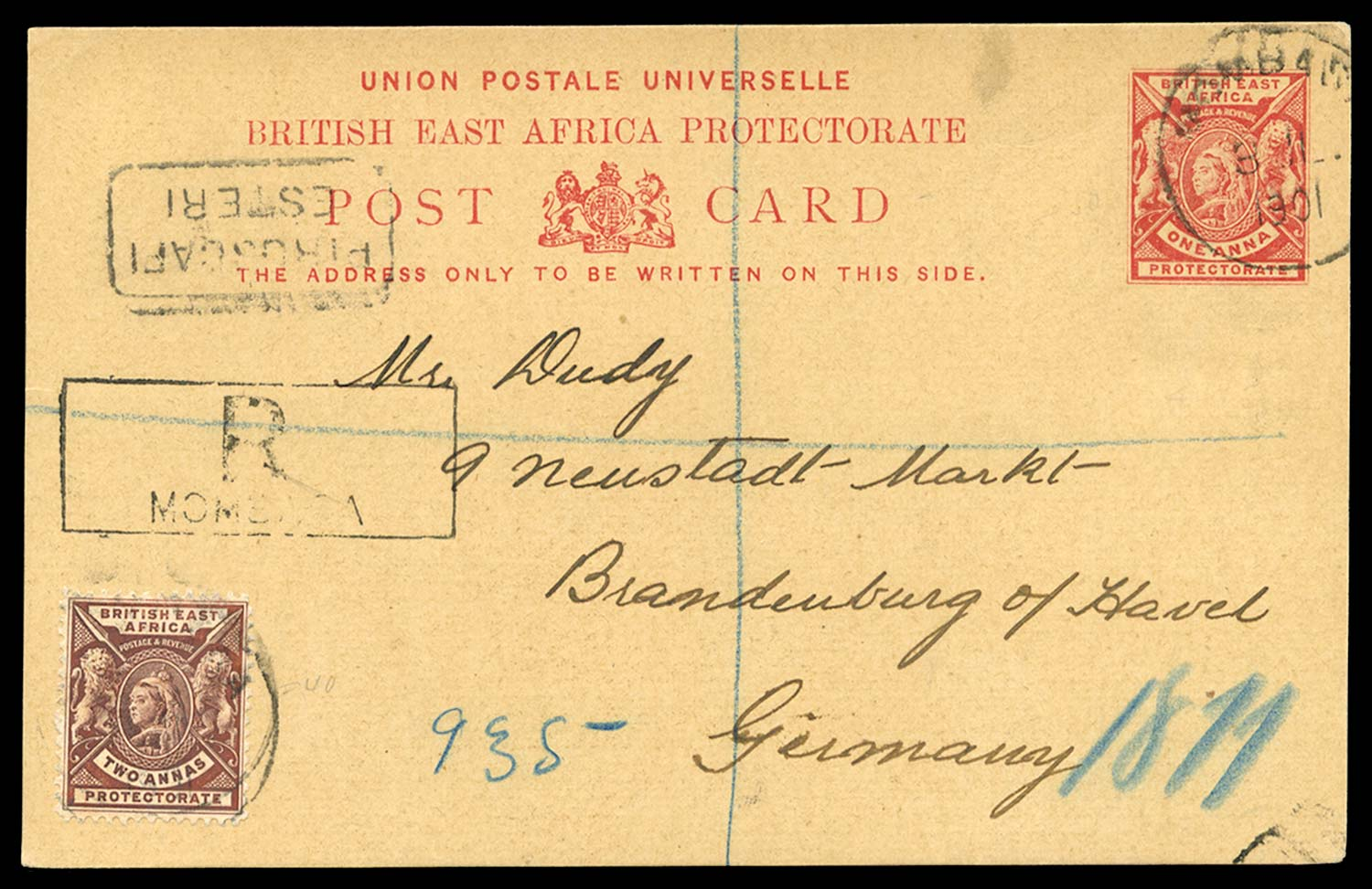 BRITISH EAST AFRICA 1901  SG67 Cover