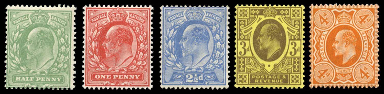 GB 1911  SG279/86 Mint Definitives (Perf. 15x14)