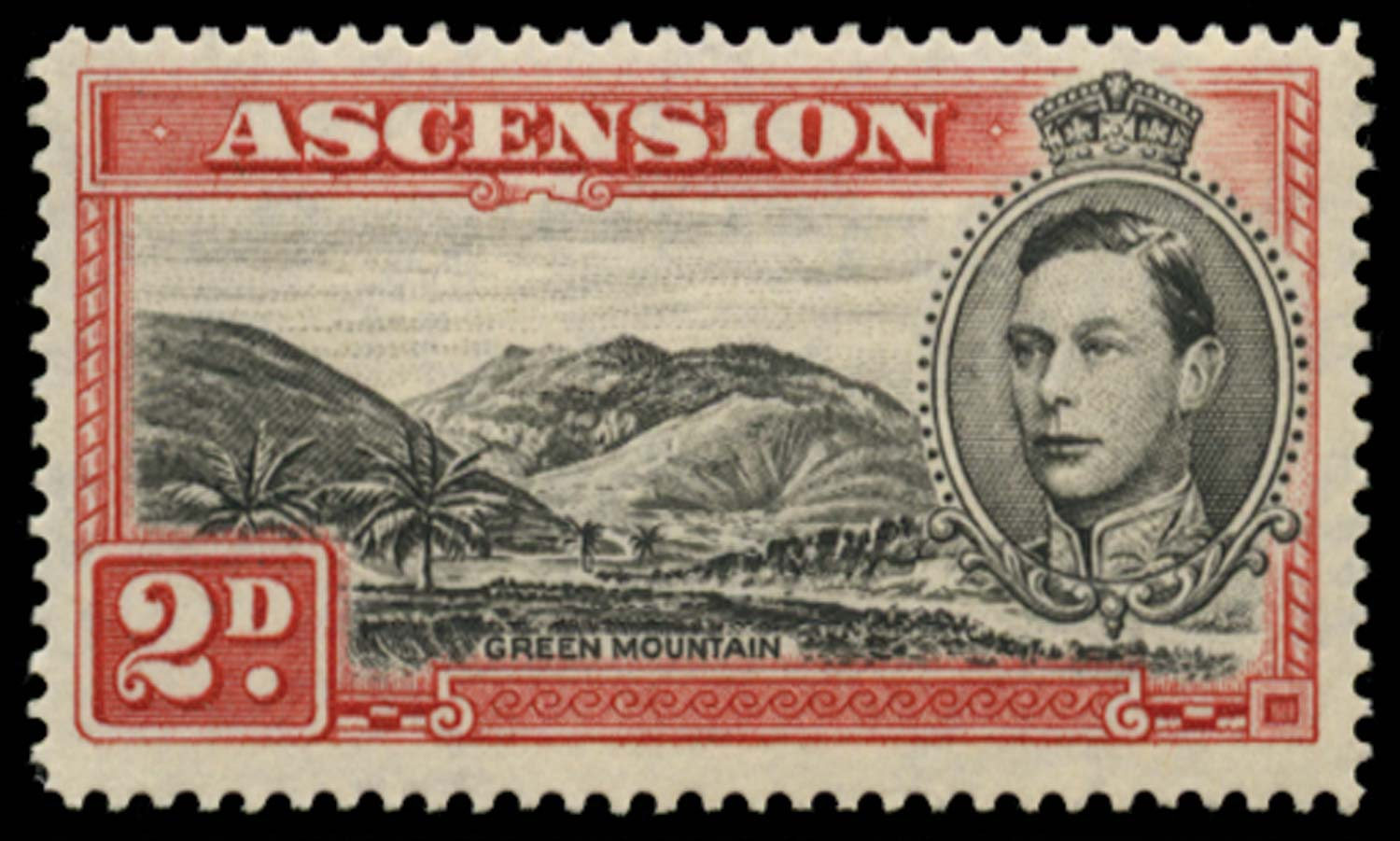 ASCENSION 1949  SG41ca Mint 2d perf 14 Mountaineer flaw