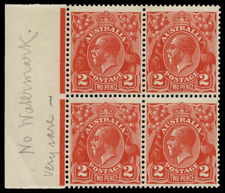 AUSTRALIA 1926  SG99ab Mint KGV 2d golden scarlet die III perf 13½x12½ error NO WATERMARK