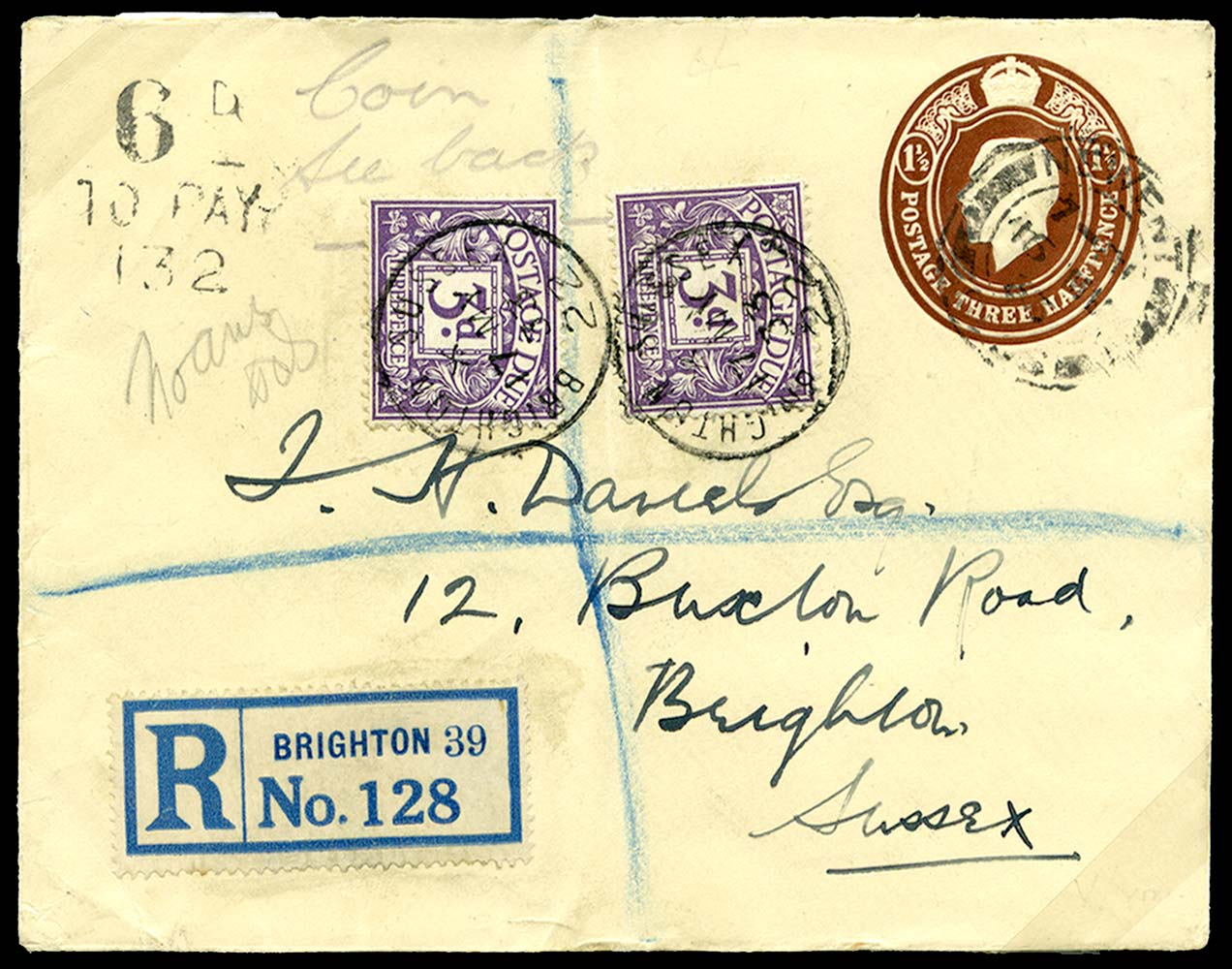 GB 1933  SGD14 Postage Due - Compulsory registered cover containing coin
