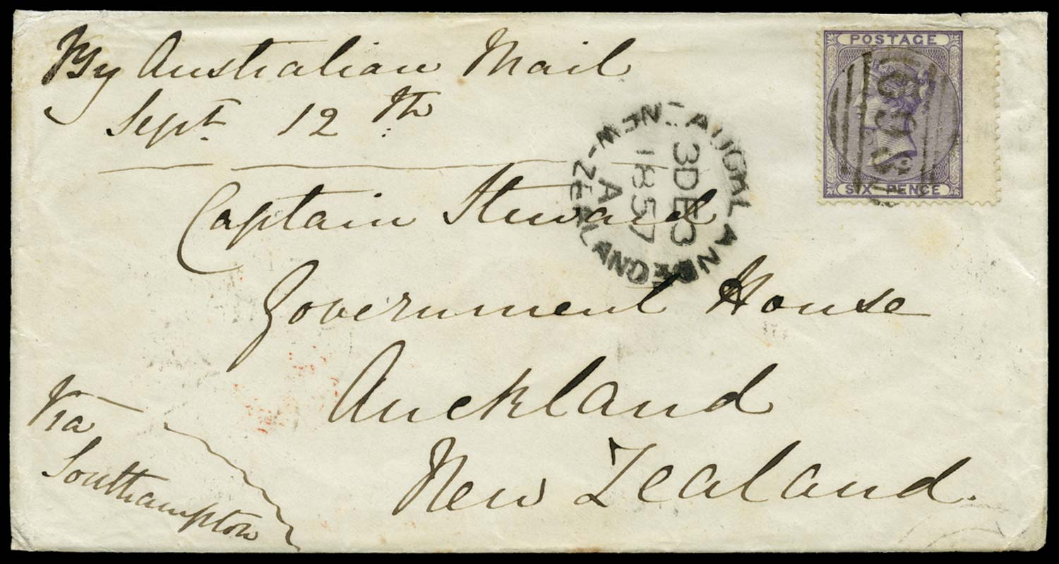 GB 1857  SG69 Cover to Auckland, N.Z.