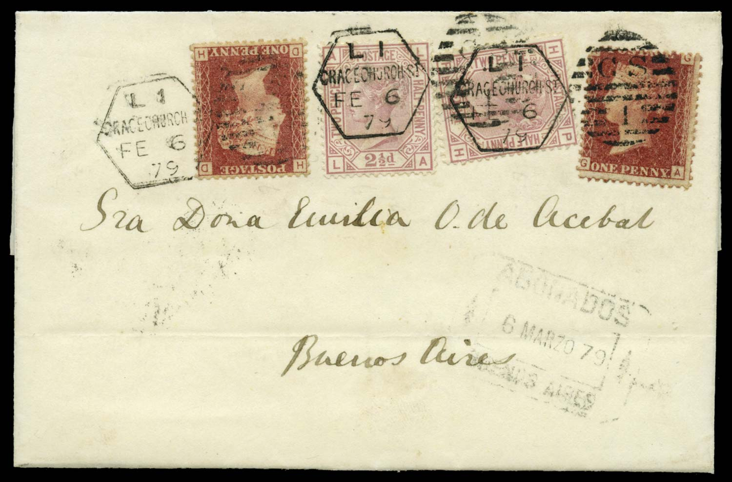 GB 1879  SG43,141 Cover to Buenos Aires