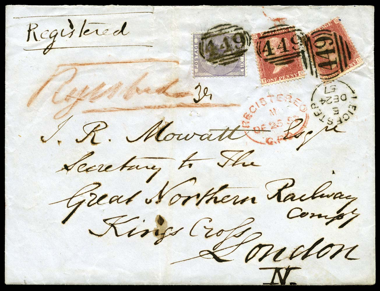 GB 1857  SG40,69 Cover - Registered Leicester to London