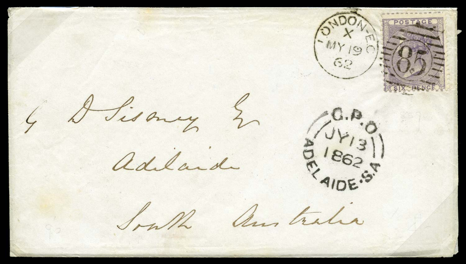 GB 1862  SG68 Cover to Adelaide S.A.