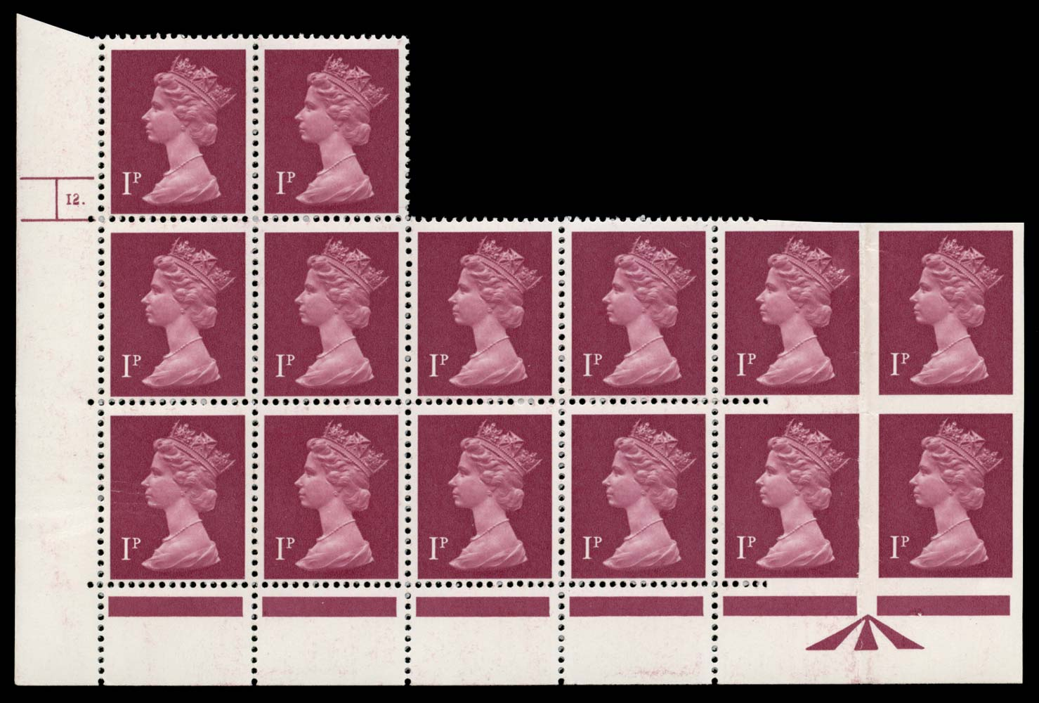 GB 1979  SGX925a Mint - imperforate pair from Cylinder 12.