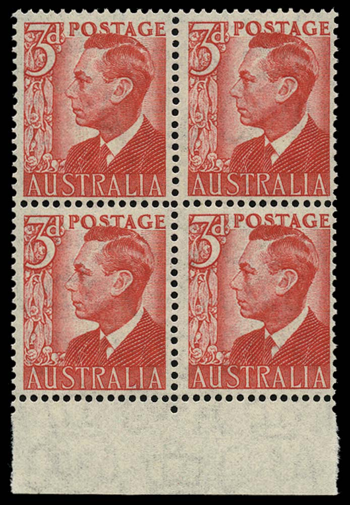 AUSTRALIA 1951  SG235 Mint 3d scarlet on THIN paper unmounted