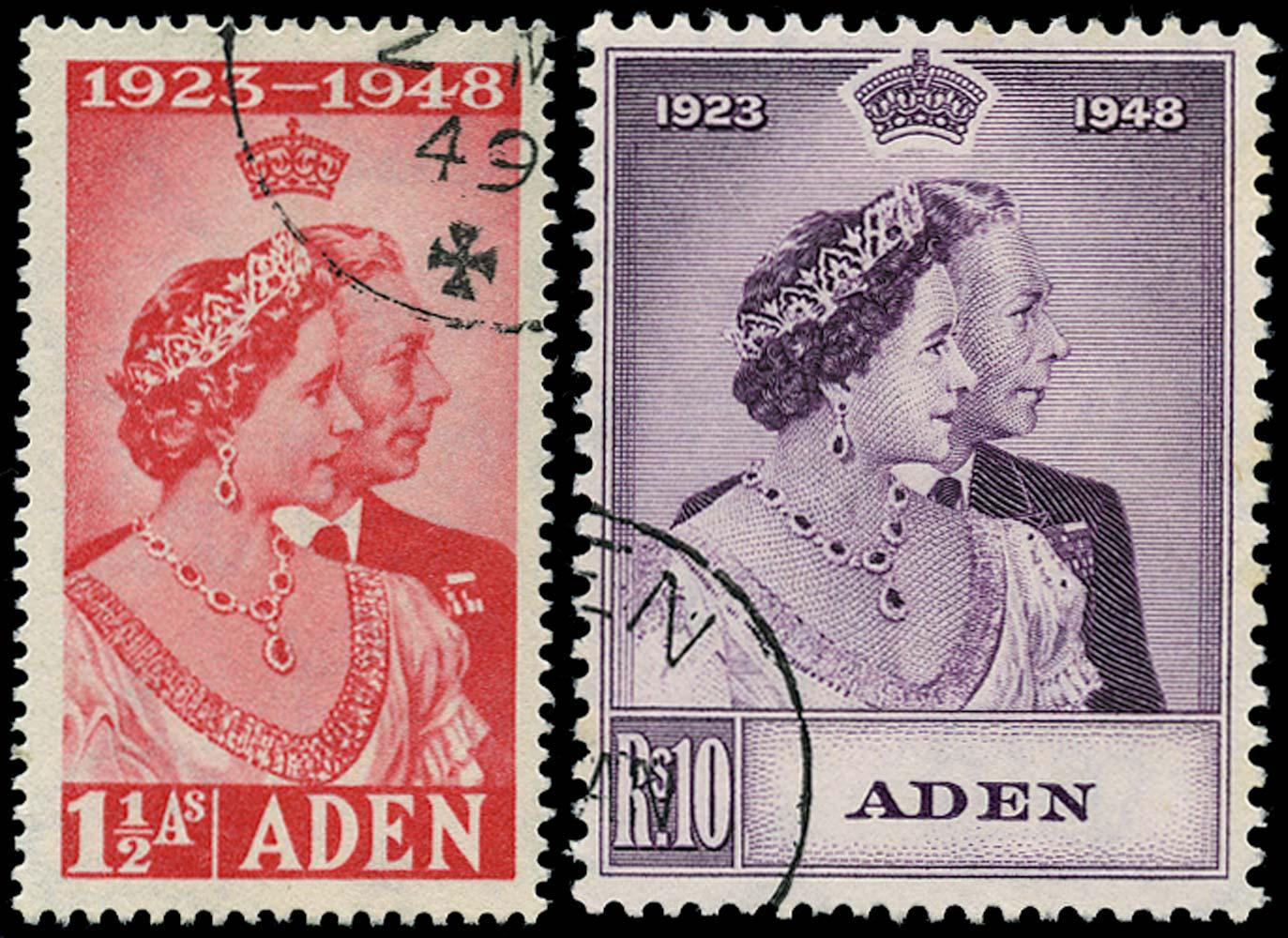ADEN 1949  SG30/1 Used Royal Silver Wedding pair