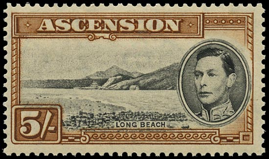 ASCENSION 1938  SG46 Mint 5s black and yellow-brown perf 13½ unmounted
