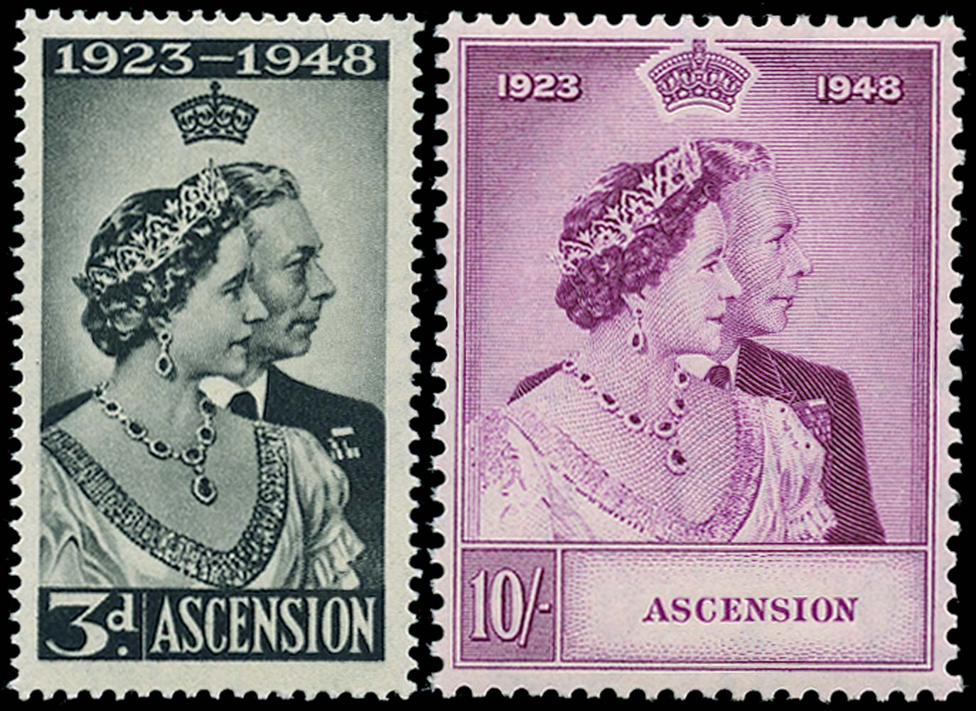 ASCENSION 1948  SG50/1 Mint Royal Silver Wedding pair unmounted