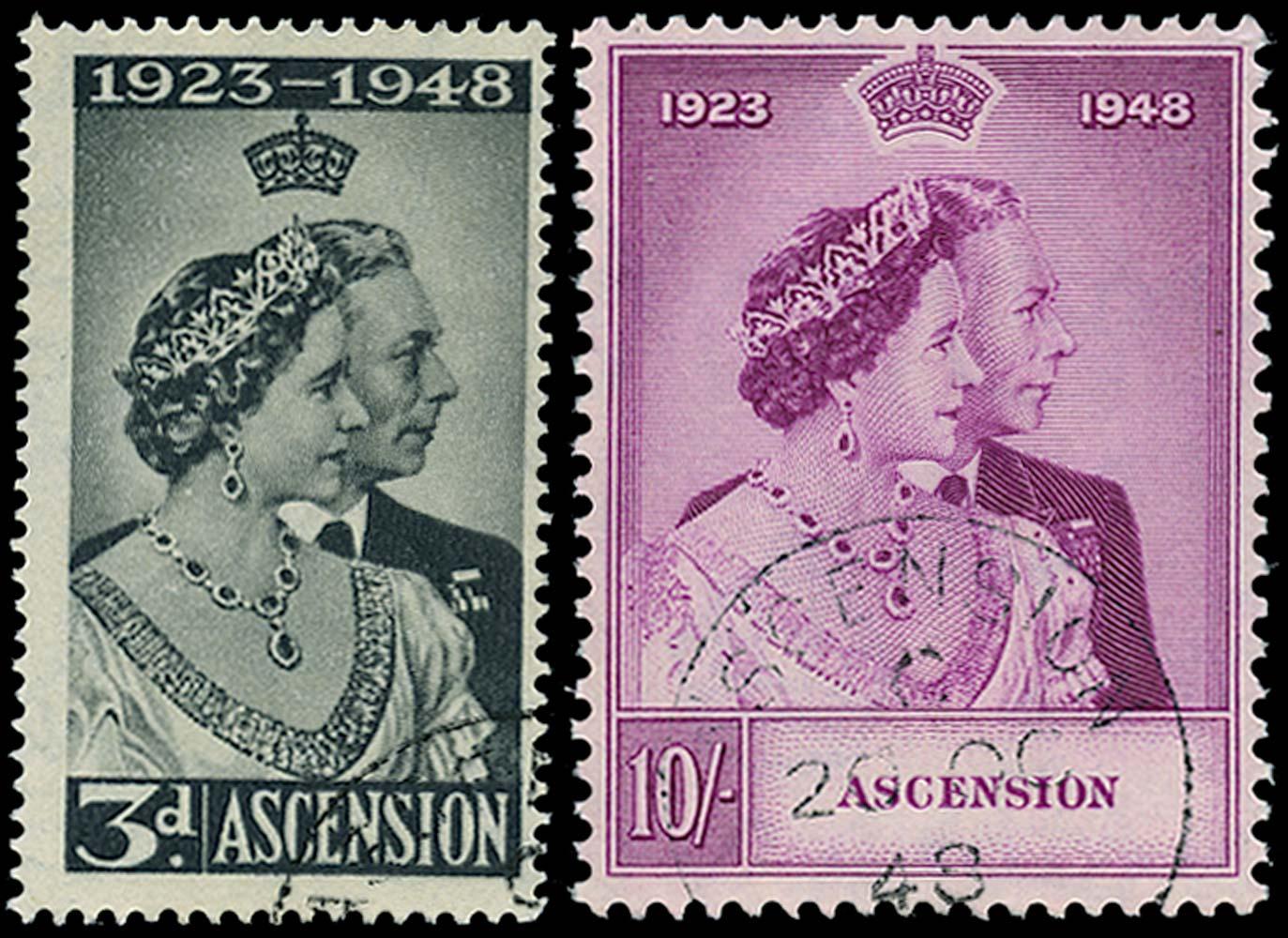 ASCENSION 1948  SG50/1 Used Royal Silver Wedding pair