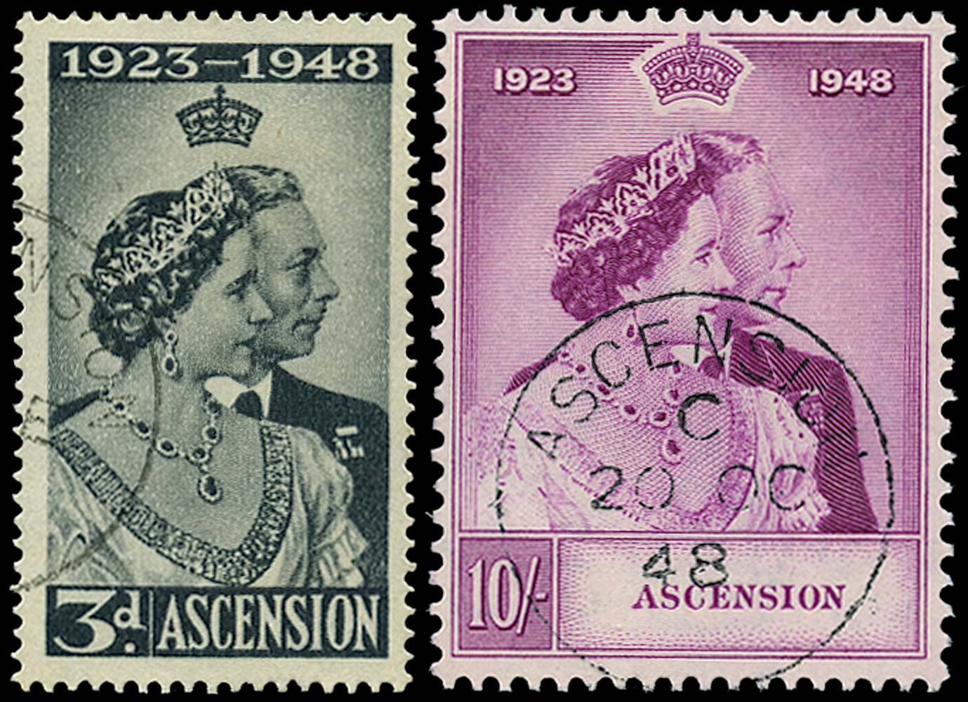 ASCENSION 1948  SG50/1 Used Royal Silver Wedding pair