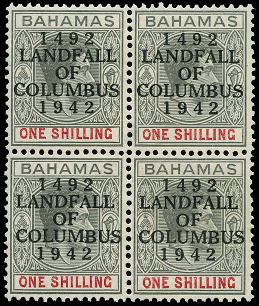 BAHAMAS 1942  SG171 Mint Landing of Columbus 1s striated paper unmounted
