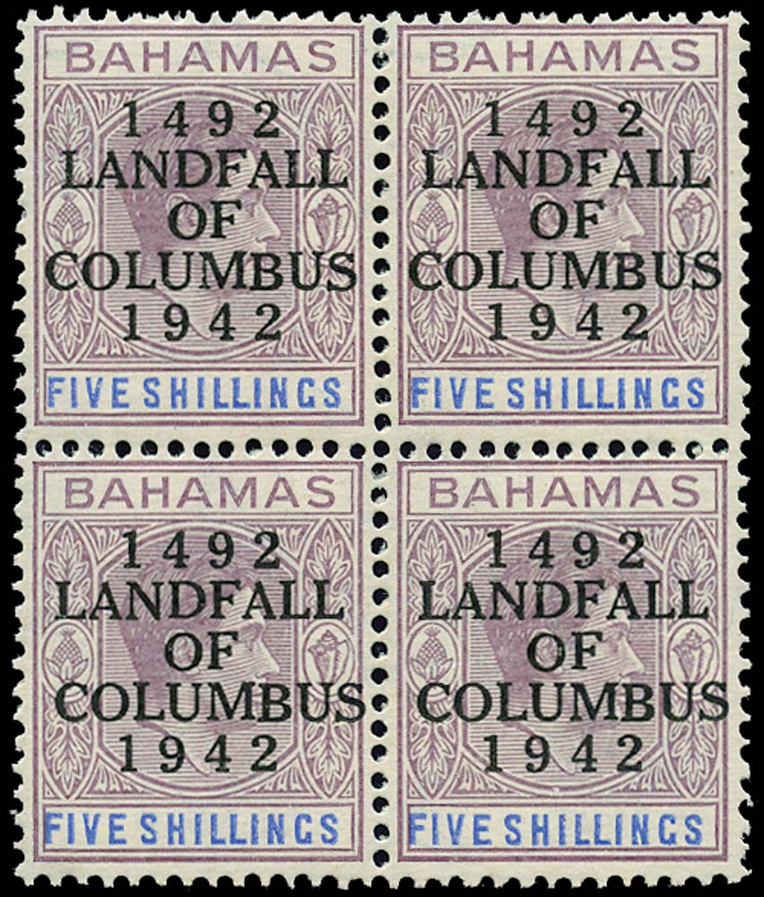 BAHAMAS 1942  SG174 Mint Landing of Columbus 5s striated paper unmounted